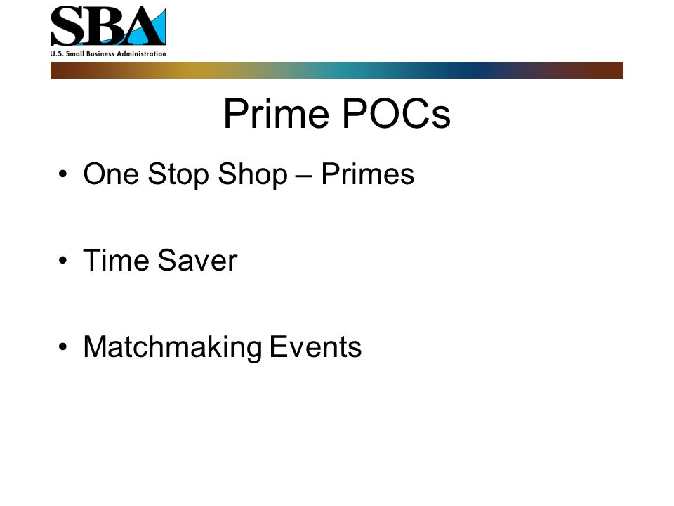 One Stop Shop – Primes Time Saver Matchmaking Events Prime POCs