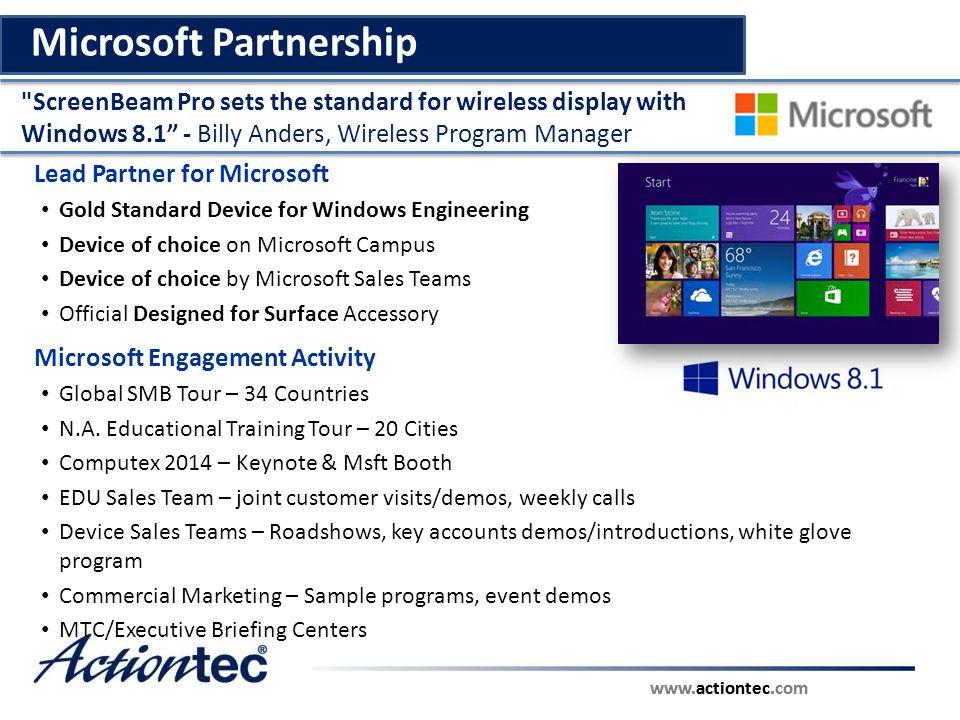 www.actiontec.com Intel Partnership Intel Engagement Activity IDF Shenzen – Pro WiDi/Business Ed.