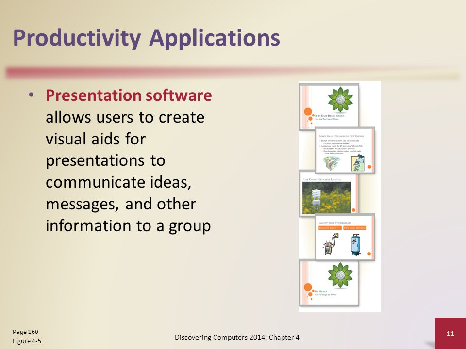Productivity Applications Presentation software allows users to create visual aids for presentations to communicate ideas, messages, and other informa
