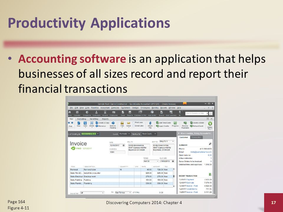 Productivity Applications Accounting software is an application that helps businesses of all sizes record and report their financial transactions Disc