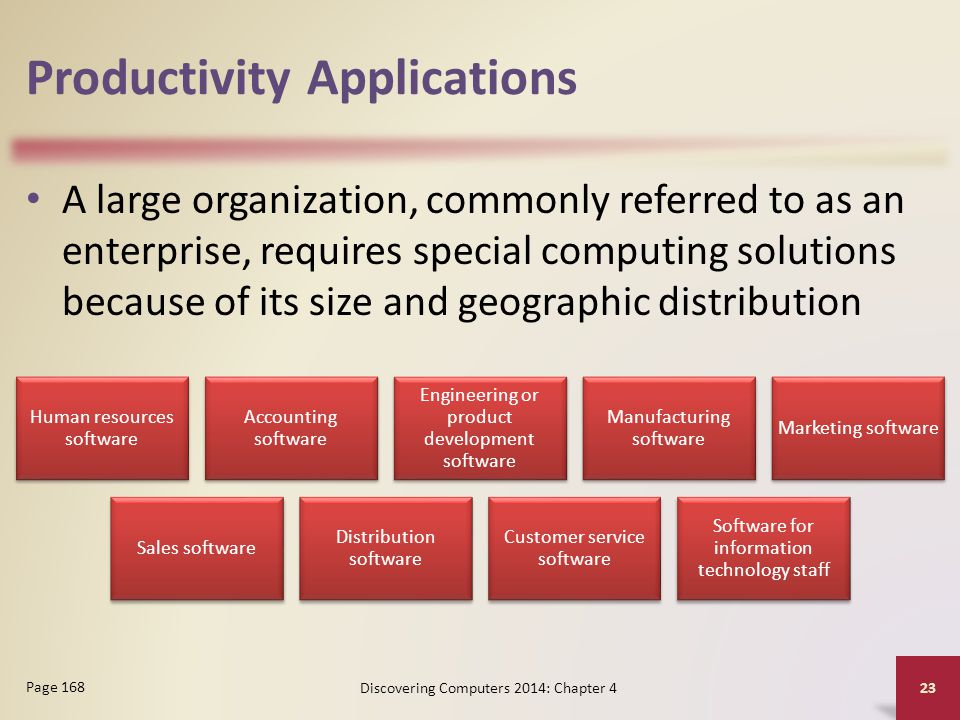 Productivity Applications A large organization, commonly referred to as an enterprise, requires special computing solutions because of its size and ge