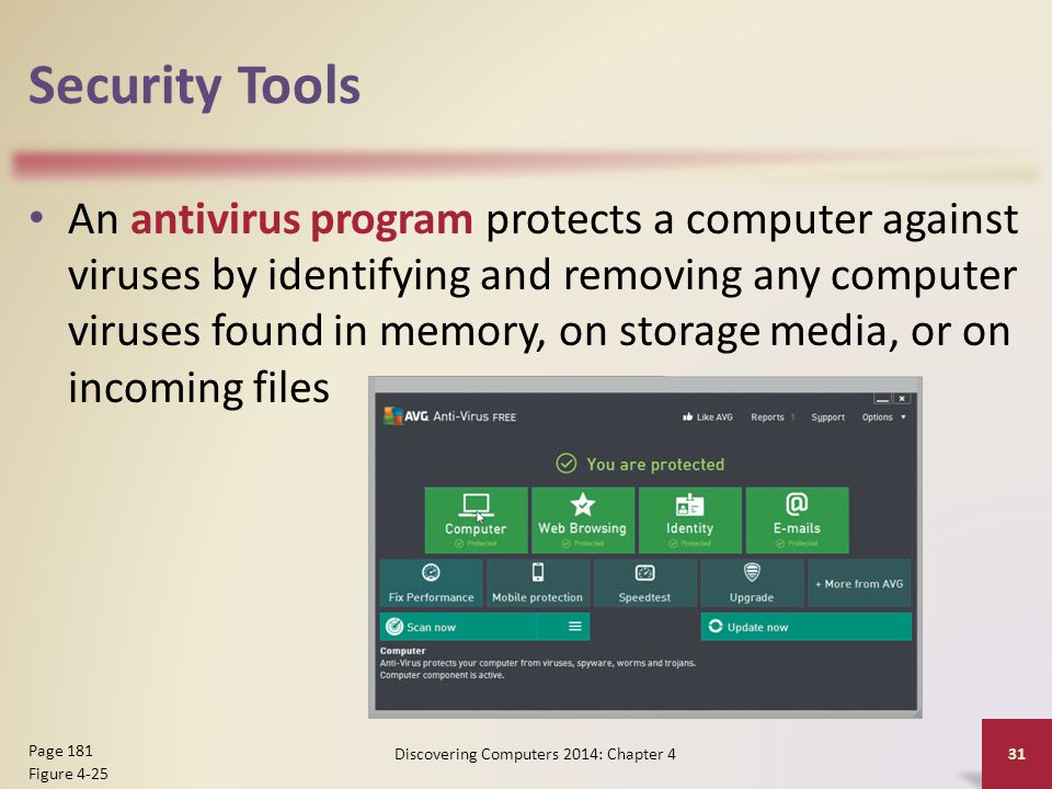 Security Tools An antivirus program protects a computer against viruses by identifying and removing any computer viruses found in memory, on storage m