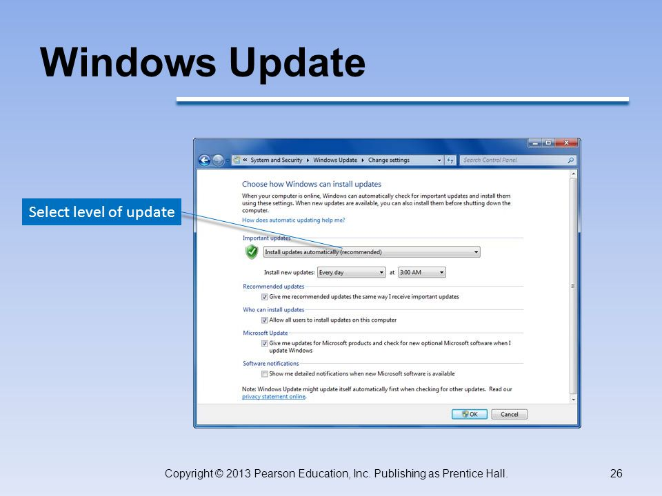 Windows Update Copyright © 2013 Pearson Education, Inc.