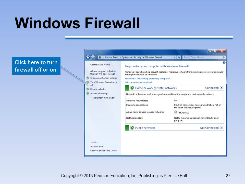 Windows Firewall Copyright © 2013 Pearson Education, Inc.