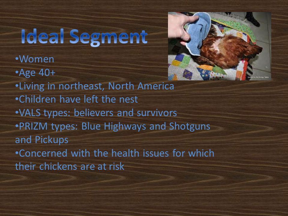 Women Age 40+ Living in northeast, North America Children have left the nest VALS types: believers and survivors PRIZM types: Blue Highways and Shotguns and Pickups Concerned with the health issues for which their chickens are at risk