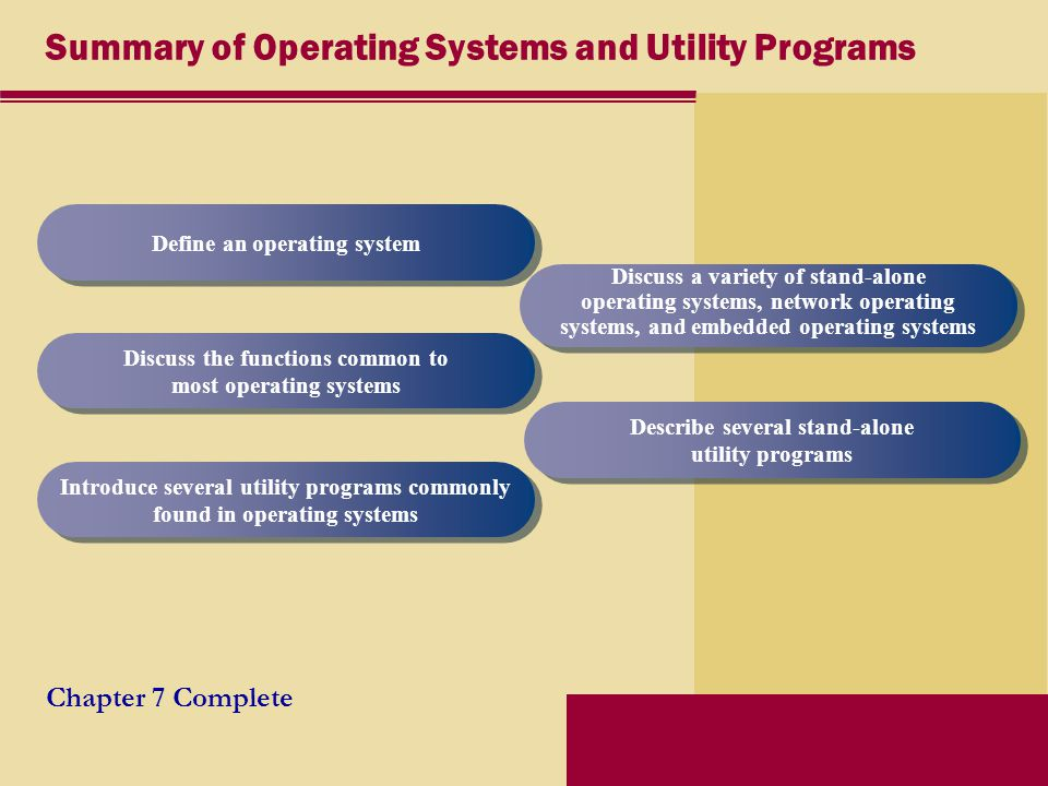 Summary of Operating Systems and Utility Programs Chapter 7 Complete Define an operating system Discuss the functions common to most operating systems Introduce several utility programs commonly found in operating systems Discuss a variety of stand-alone operating systems, network operating systems, and embedded operating systems Describe several stand-alone utility programs
