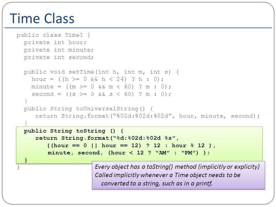 Class Object Object is the top level class in every inheritance hierarchy Every class extends Object implicitly if it doesn't extend another class explicitly public class Person{ private String name; private String address; } Object Person public class Employee extends Person{ private float salary; } Object Person Employee