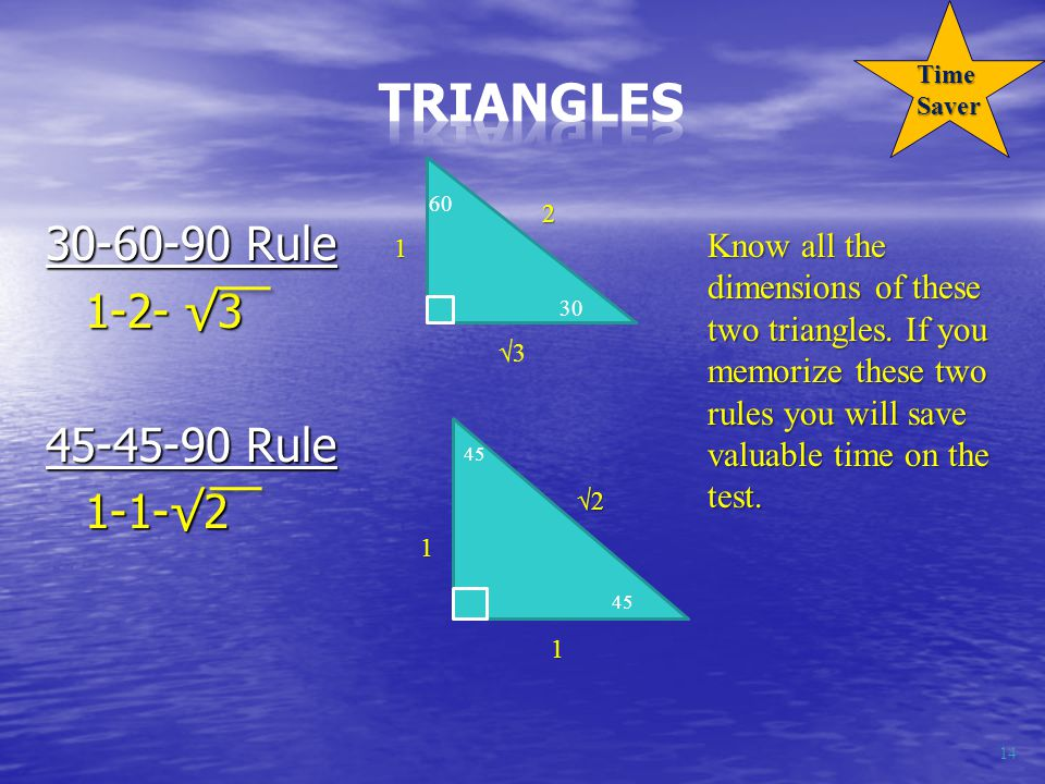 30-60-90 Rule 1-2- √3 45-45-90 Rule 1-1-√2 14 60 30 45 1 √3 2 √2 1 1 Know all the dimensions of these two triangles.