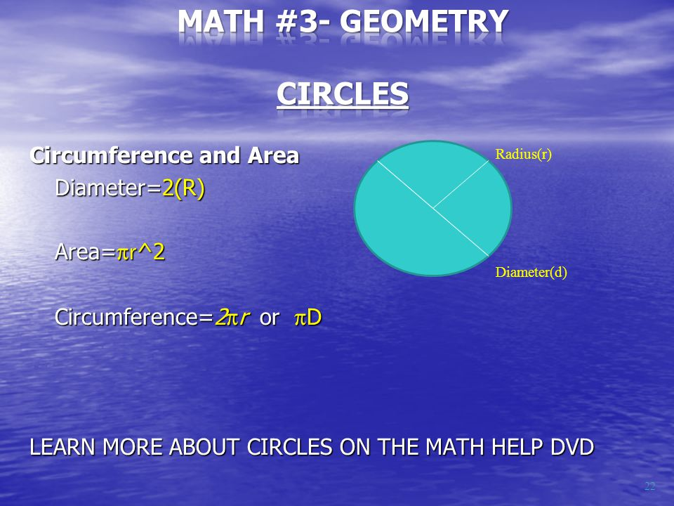 Circumference and Area Diameter=2(R) Area= r ^2 Circumference=2  r or  D LEARN MORE ABOUT CIRCLES ON THE MATH HELP DVD Radius(r) Diameter(d) 22