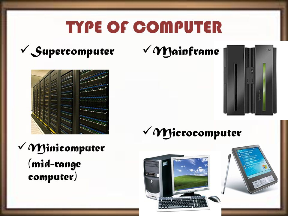 TYPE OF COMPUTER Supercomputer Minicomputer (mid-range computer) Microcomputer Mainframe
