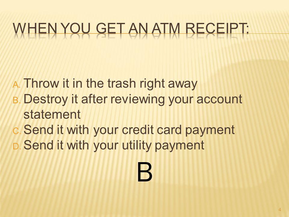 A. A gas card B. A debit card C. A credit card D. A membership card B 15