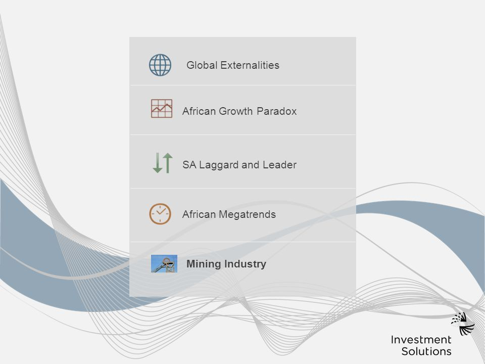  African Megatrends SA Laggard and Leader African Growth Paradox Global Externalities Mining Industry