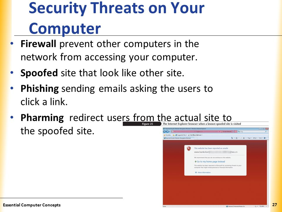 XP Security Threats on Your Computer Firewall prevent other computers in the network from accessing your computer.