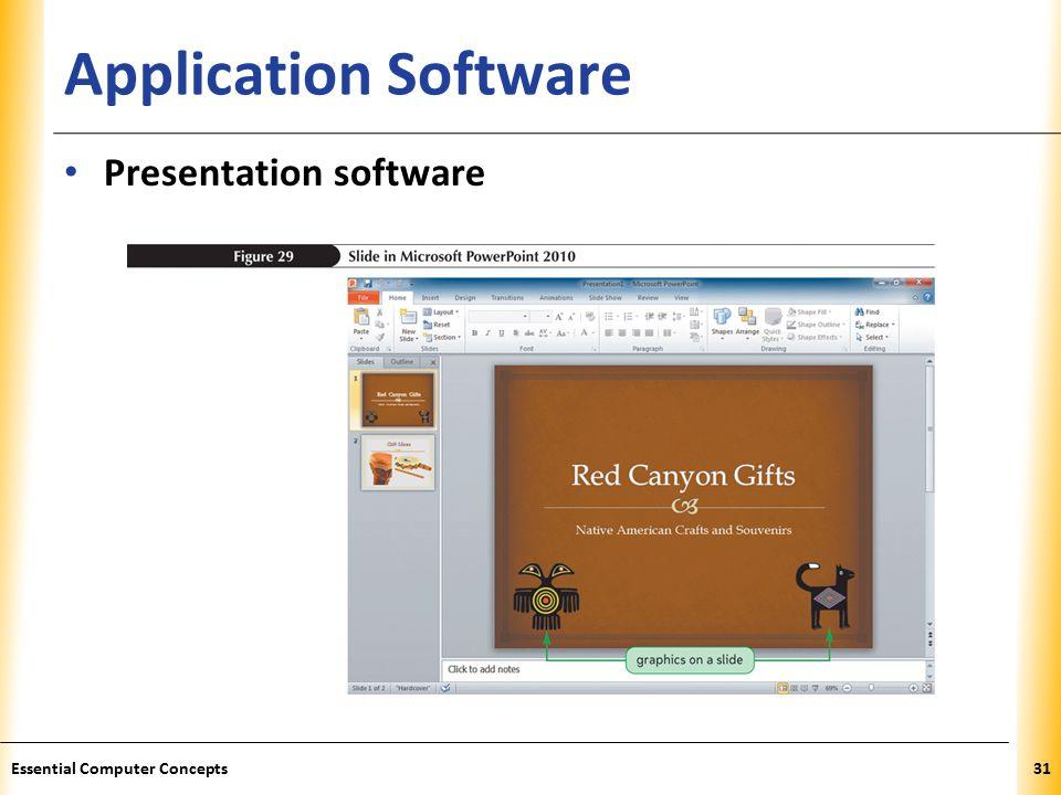 XP Application Software Presentation software 31Essential Computer Concepts
