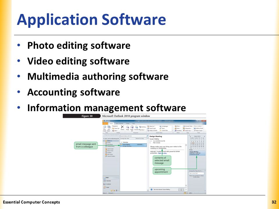 XP Application Software Essential Computer Concepts32 Photo editing software Video editing software Multimedia authoring software Accounting software Information management software