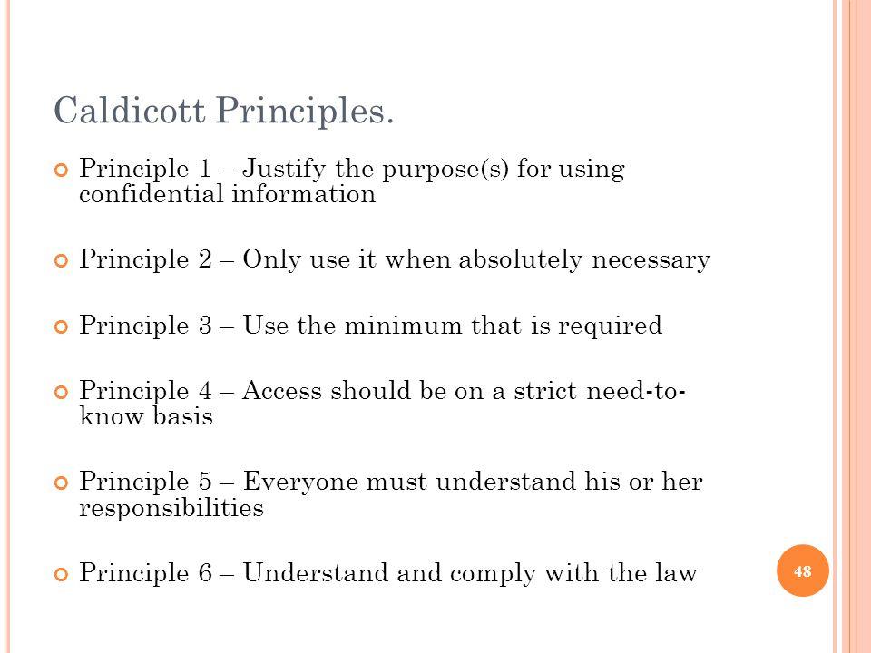 Caldicott Principles.