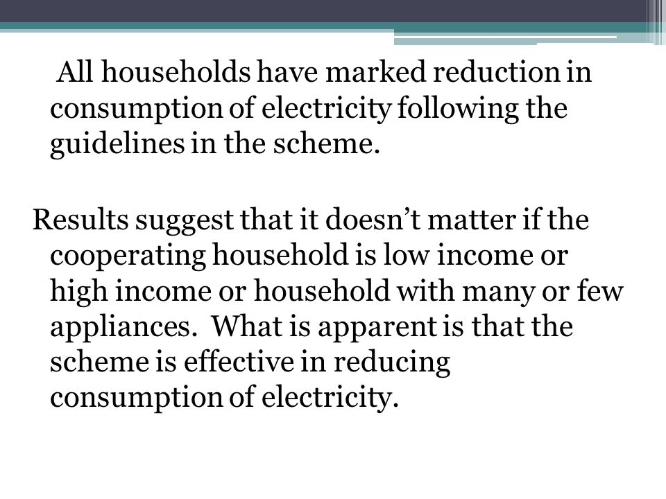 All households have marked reduction in consumption of electricity following the guidelines in the scheme.