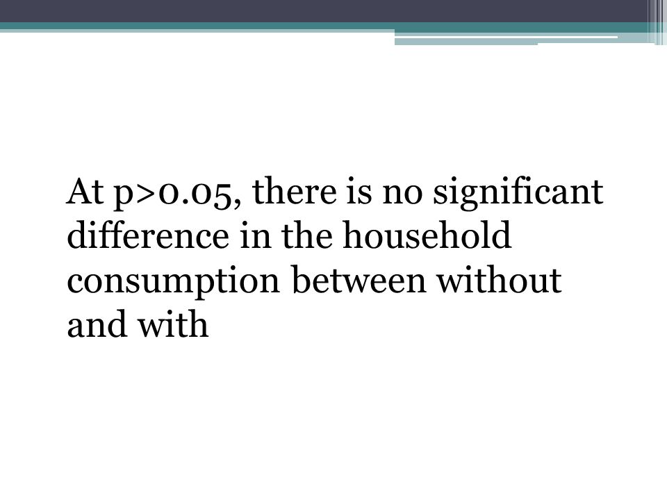 At p>0.05, there is no significant difference in the household consumption between without and with
