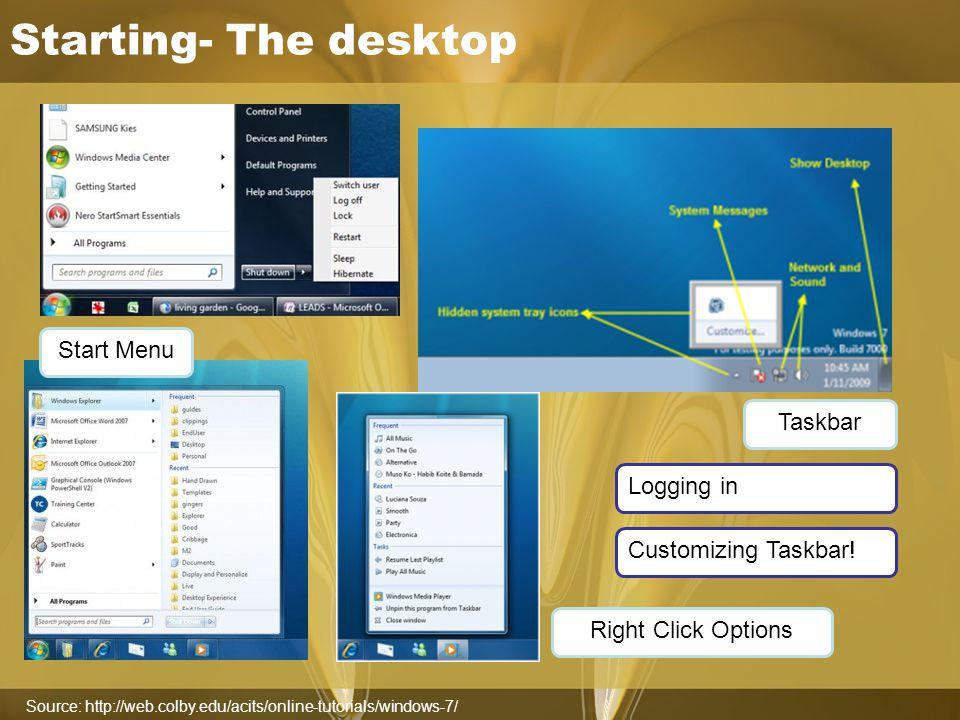 Starting- The desktop Source: http://web.colby.edu/acits/online-tutorials/windows-7/ Taskbar Start Menu Right Click Options Customizing Taskbar.