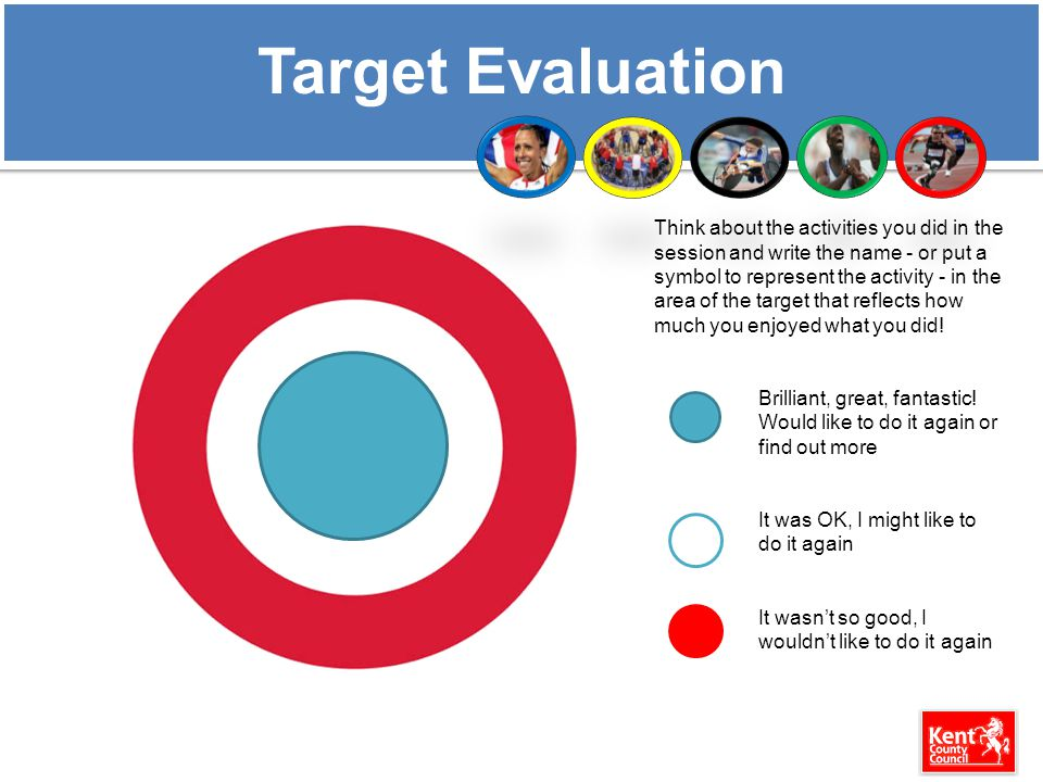 Target Evaluation Think about the activities you did in the session and write the name - or put a symbol to represent the activity - in the area of the target that reflects how much you enjoyed what you did.