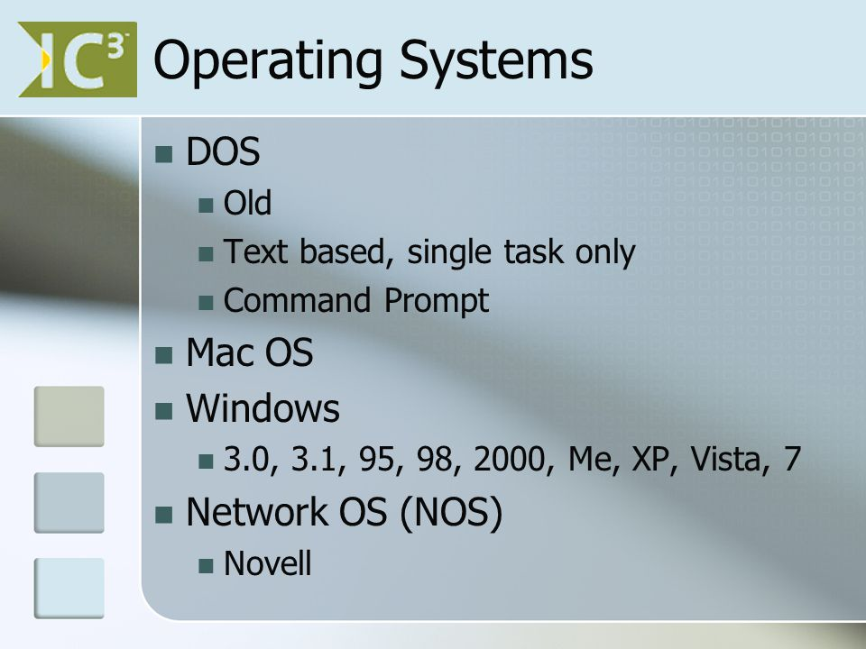 Operating Systems DOS Old Text based, single task only Command Prompt Mac OS Windows 3.0, 3.1, 95, 98, 2000, Me, XP, Vista, 7 Network OS (NOS) Novell