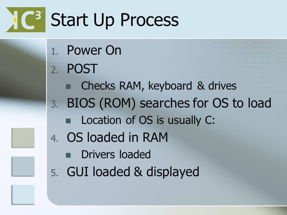 Start Up Process 1. Power On 2. POST Checks RAM, keyboard & drives 3.