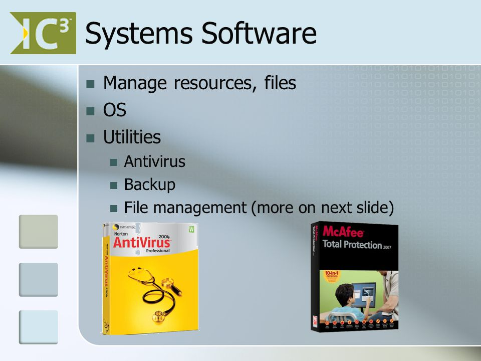 Systems Software Manage resources, files OS Utilities Antivirus Backup File management (more on next slide)
