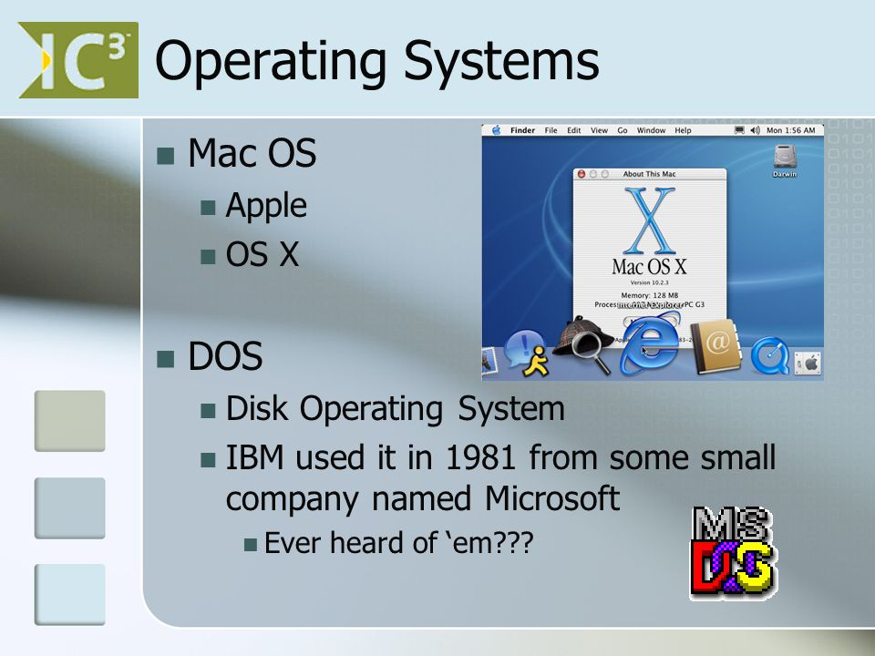 Operating Systems Mac OS Apple OS X DOS Disk Operating System IBM used it in 1981 from some small company named Microsoft Ever heard of 'em