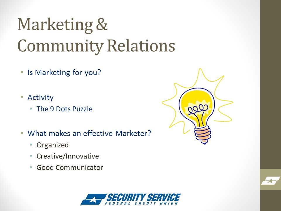 Marketing & Community Relations Is Marketing for you.