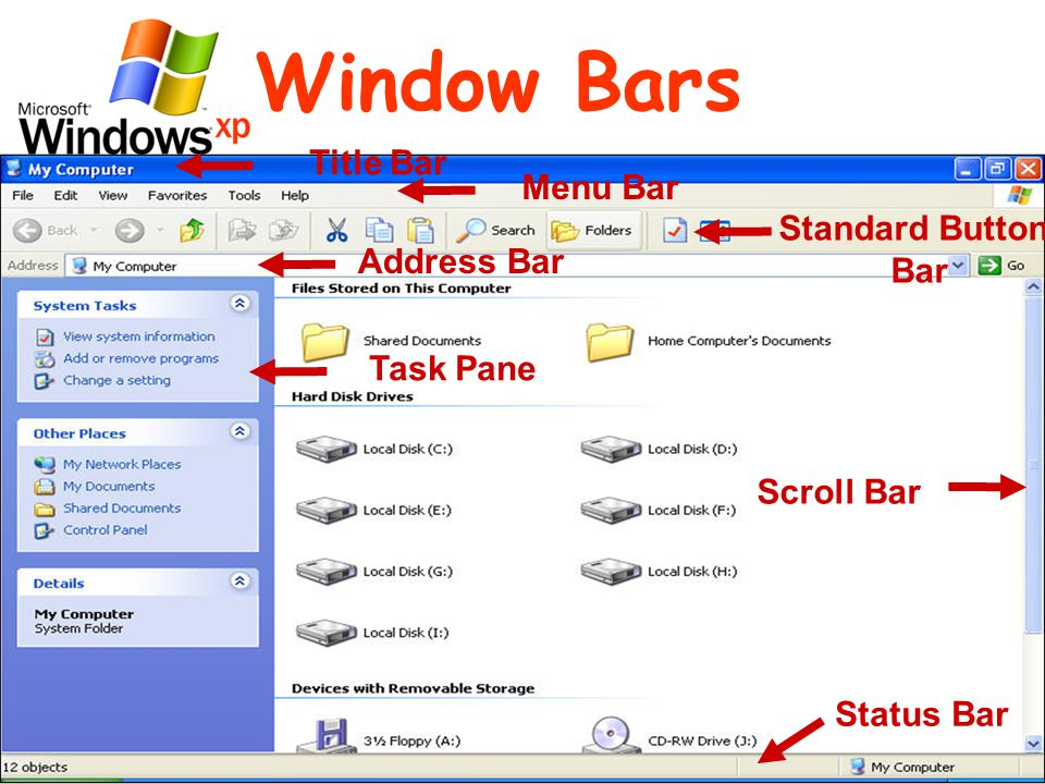 Window Bars Title Bar Menu Bar Standard Button Bar Address Bar Task Pane Status Bar Scroll Bar