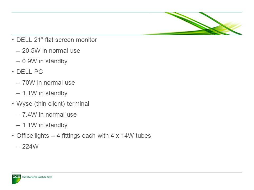 Multi-function device (printer/scanner etc.) –40W idle –17W in powersave mode –200W-1,500W when printing Desktop printer –24.5W idle –6.3W in powersave mode –Up to 1,400W when printing