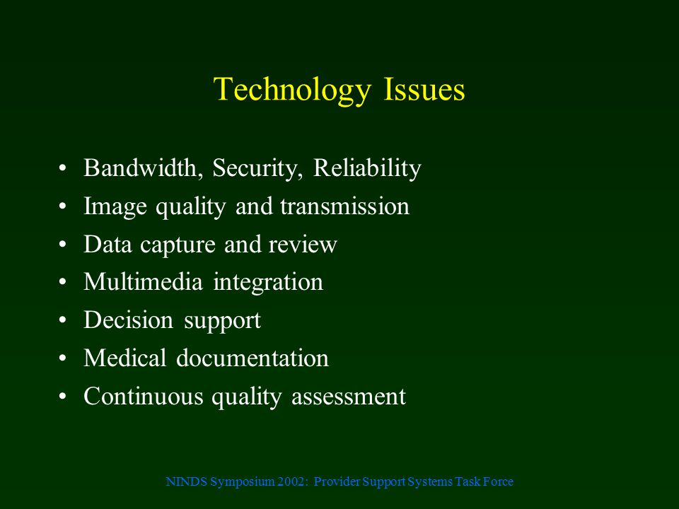 NINDS Symposium 2002: Provider Support Systems Task Force Technology Issues Bandwidth, Security, Reliability Image quality and transmission Data captu