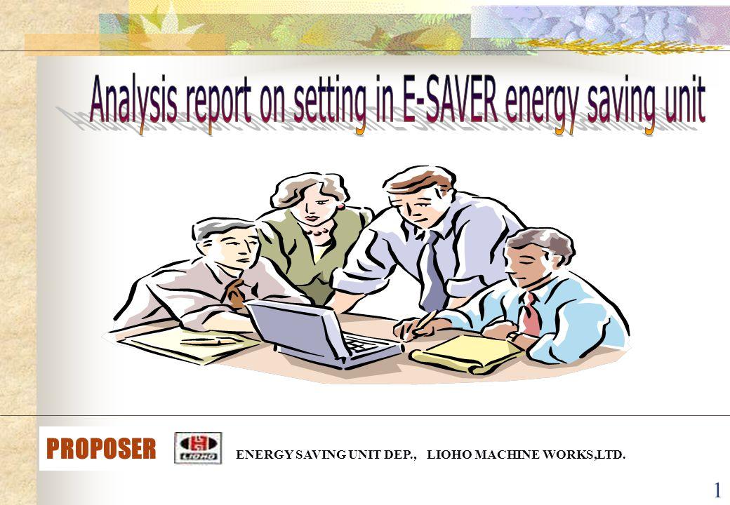 1 PROPOSER ENERGY SAVING UNIT DEP., LIOHO MACHINE WORKS,LTD.