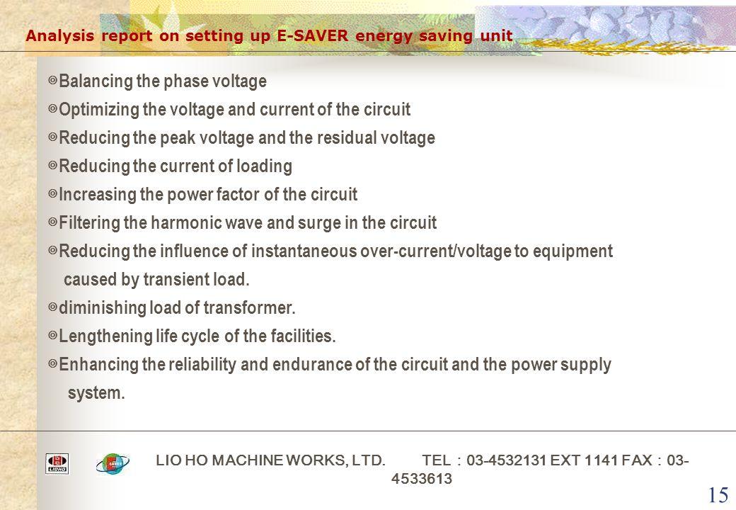 15 Analysis report on setting up E-SAVER energy saving unit LIO HO MACHINE WORKS, LTD. TEL : 03-4532131 EXT 1141 FAX : 03- 4533613 ◎ Balancing the pha