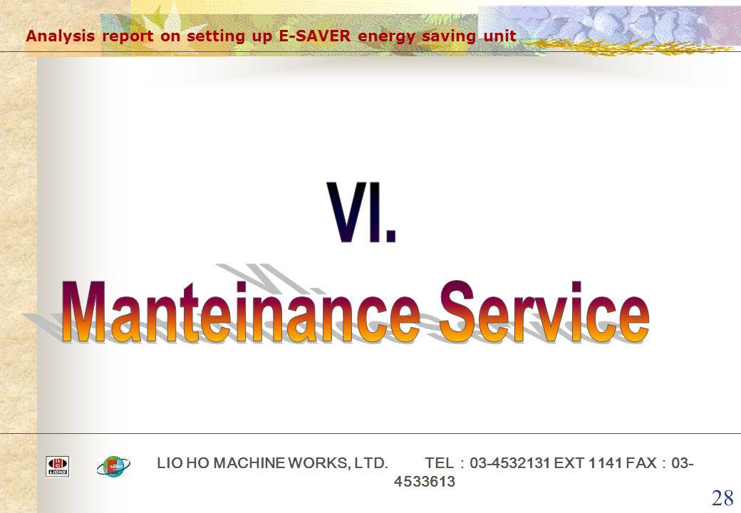 28 Analysis report on setting up E-SAVER energy saving unit LIO HO MACHINE WORKS, LTD. TEL : 03-4532131 EXT 1141 FAX : 03- 4533613