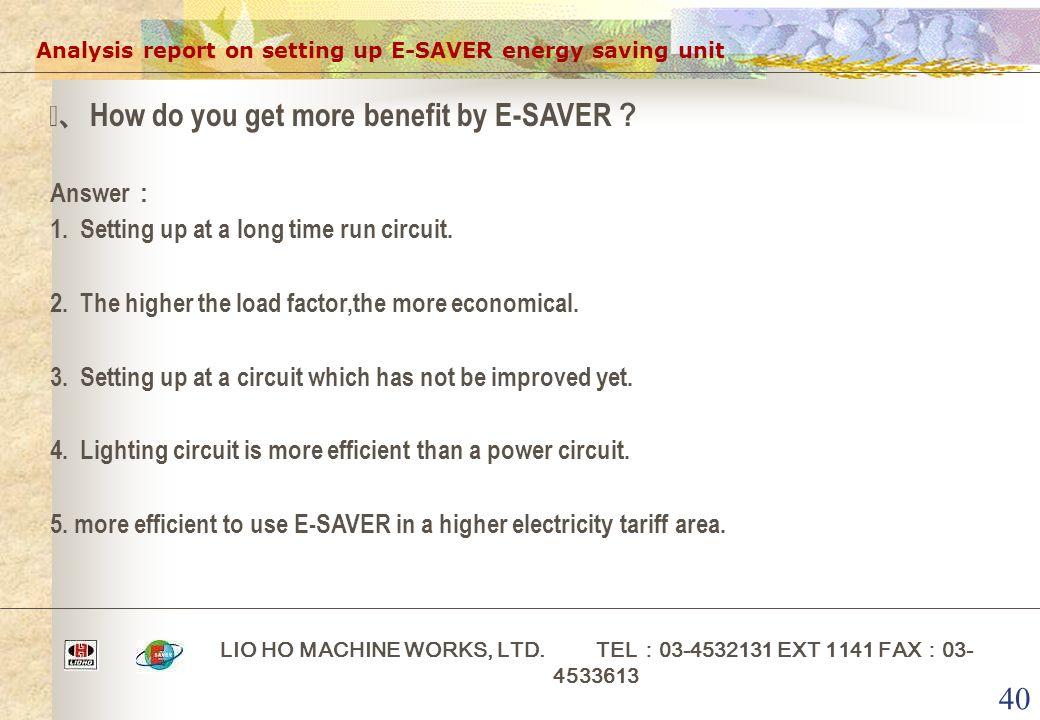 40 Analysis report on setting up E-SAVER energy saving unit LIO HO MACHINE WORKS, LTD. TEL : 03-4532131 EXT 1141 FAX : 03- 4533613 ⅶ、 How do you get m