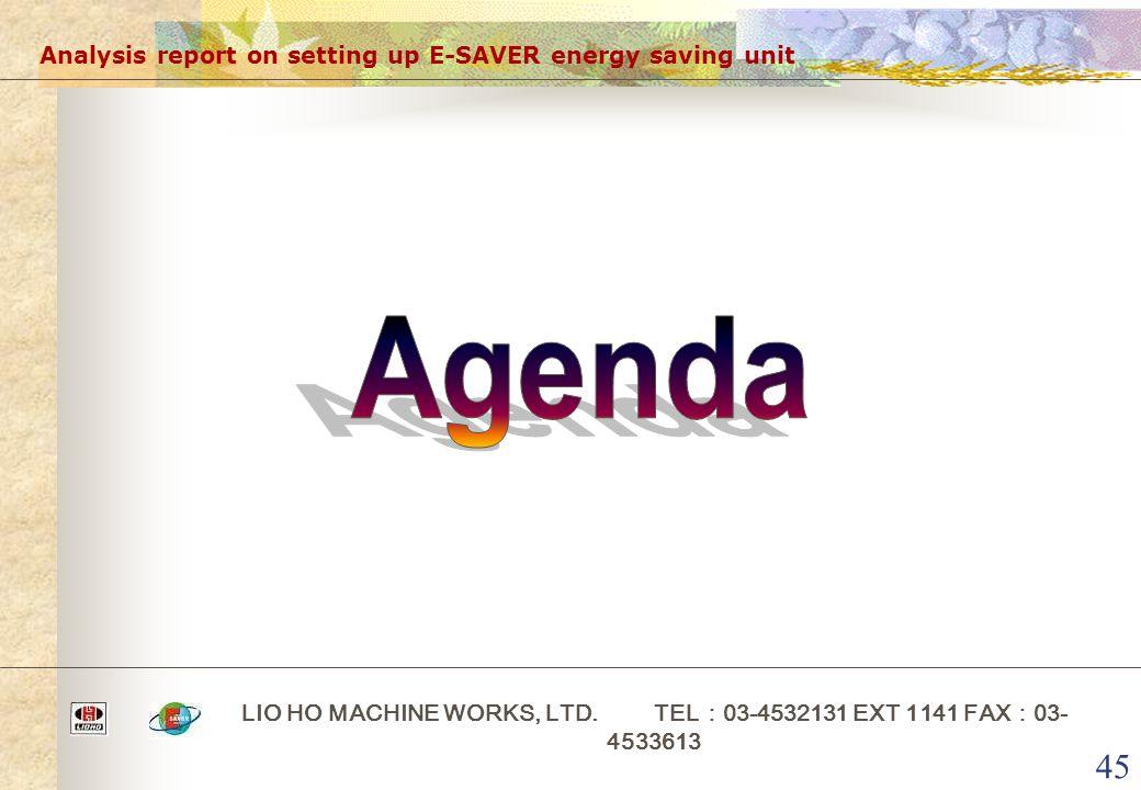 45 Analysis report on setting up E-SAVER energy saving unit LIO HO MACHINE WORKS, LTD.