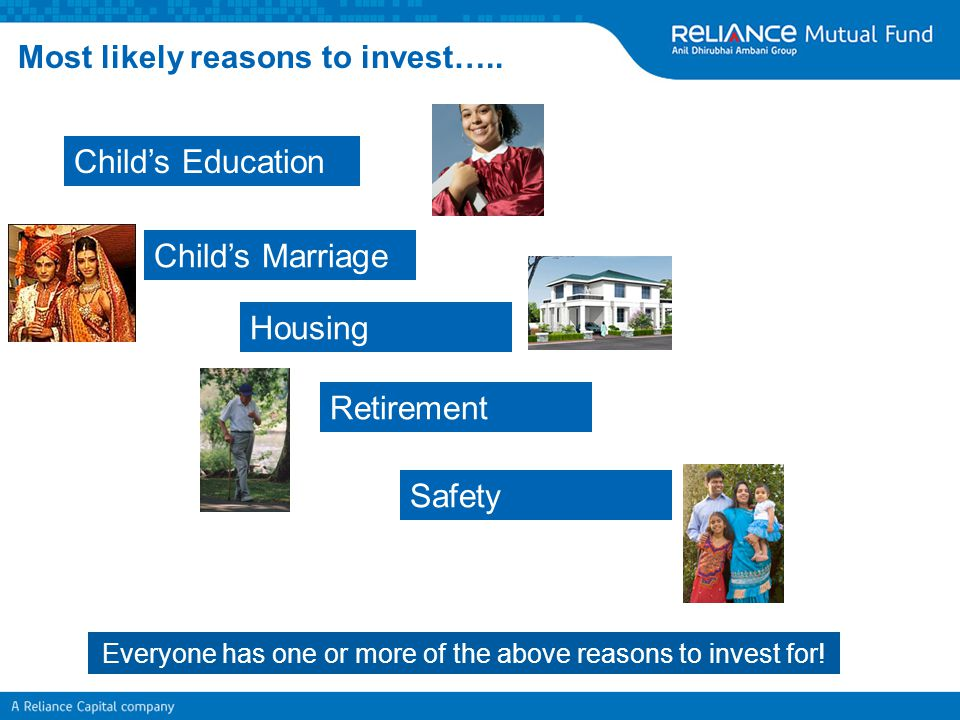 Most likely reasons to invest….. Everyone has one or more of the above reasons to invest for! Child's Education Child's Marriage Housing Retirement Sa