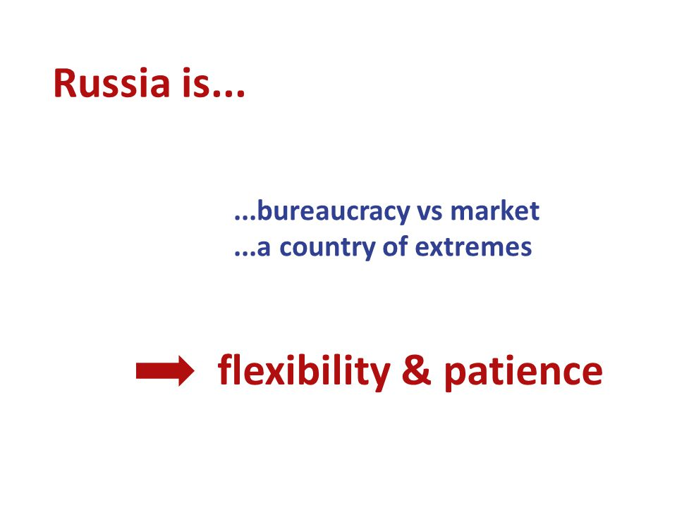 Russia is......bureaucracy vs market...a country of extremes flexibility & patience