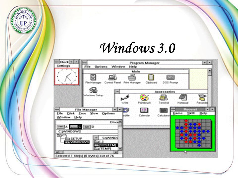 ..\Desktop\Windows30.gif Windows 3.0 Was produced in Abril 1987.- -And added the ability to run more than one program -After that it's name that windows 386.