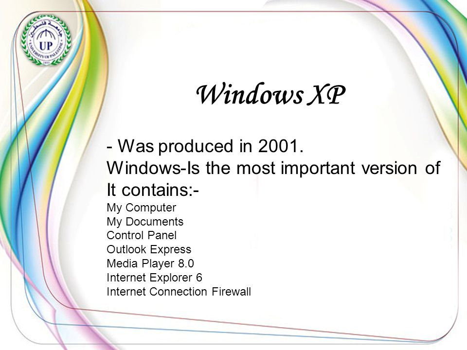 Windows XP - Was produced in 2001.