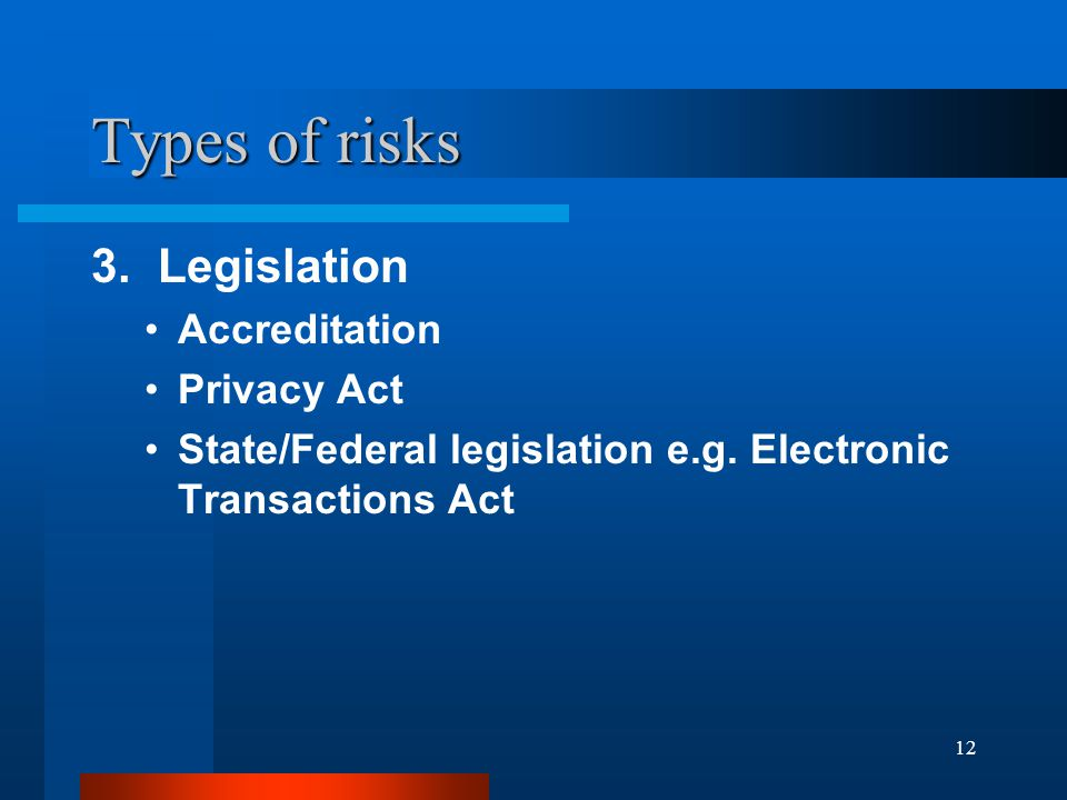 12 Types of risks 3. Legislation Accreditation Privacy Act State/Federal legislation e.g.