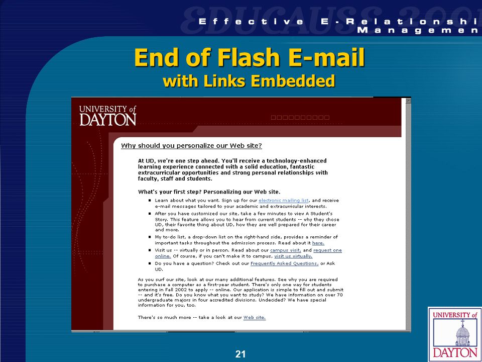 21 End of Flash E-mail with Links Embedded