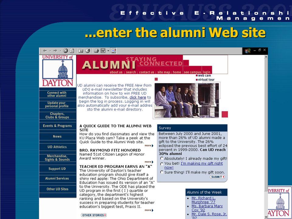 26...enter the alumni Web site