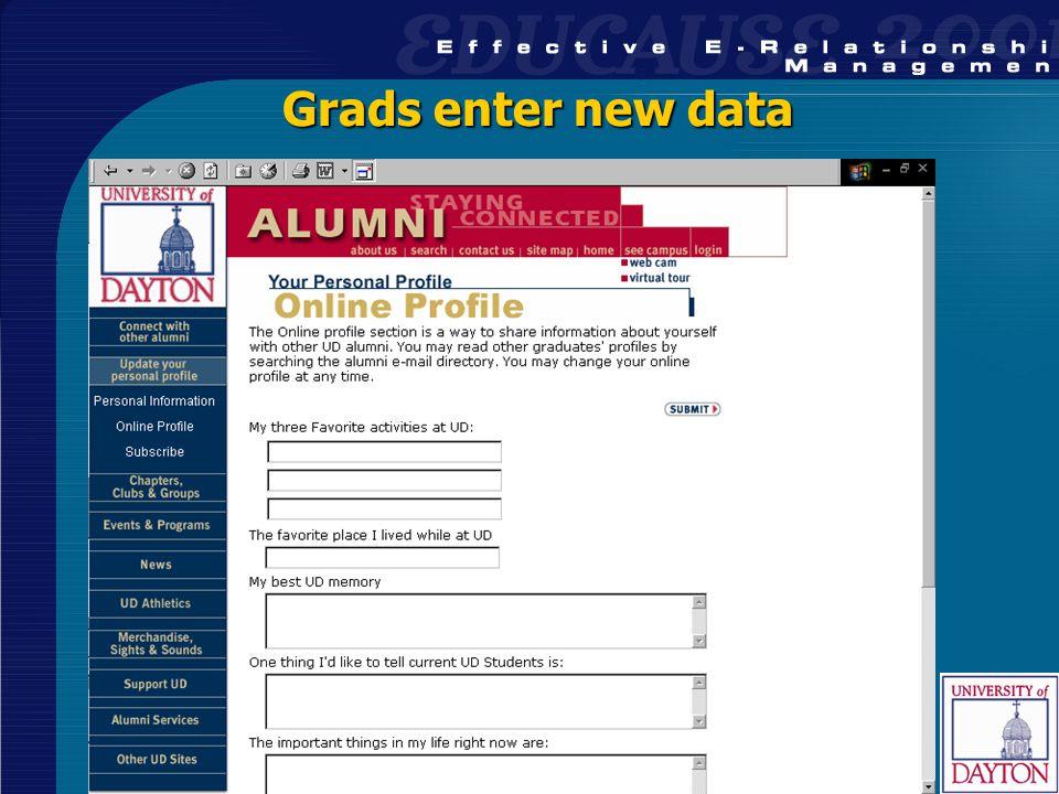 29 Grads enter new data