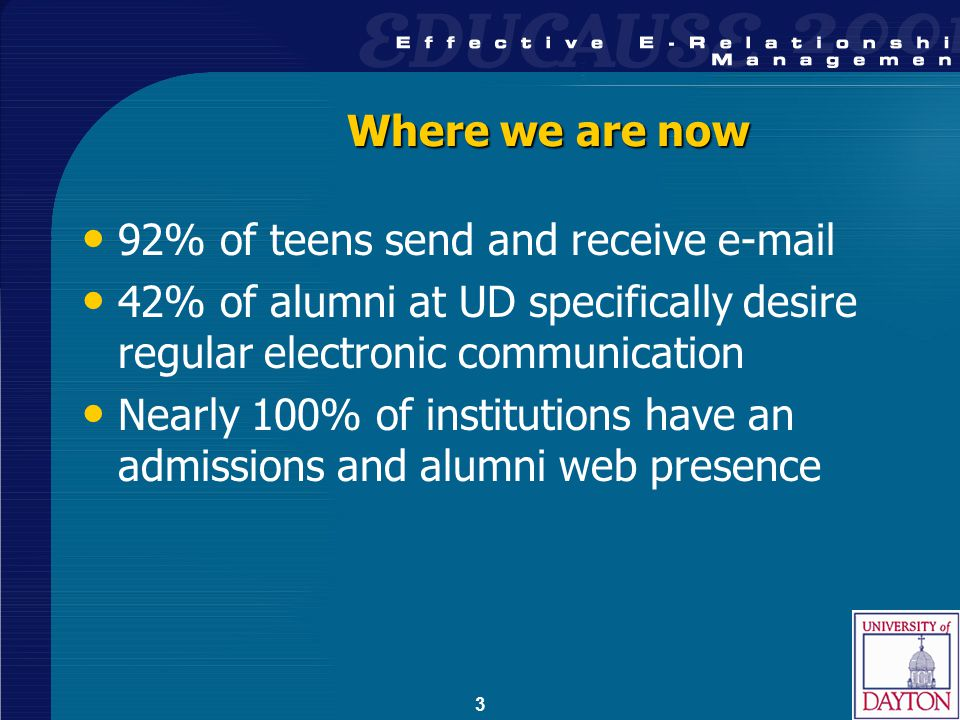 3 Where we are now 92% of teens send and receive e-mail 42% of alumni at UD specifically desire regular electronic communication Nearly 100% of institutions have an admissions and alumni web presence