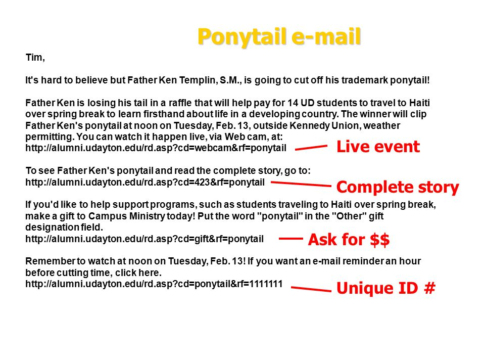 42 Ponytail e-mail Tim, It s hard to believe but Father Ken Templin, S.M., is going to cut off his trademark ponytail.
