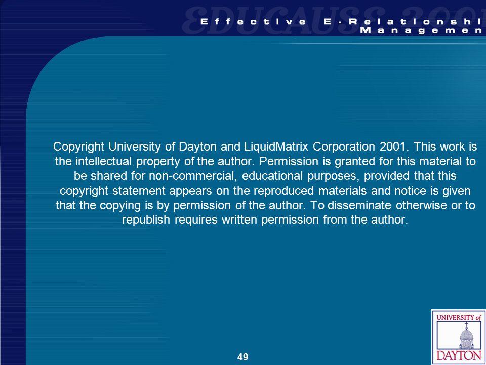 49 Copyright University of Dayton and LiquidMatrix Corporation 2001.