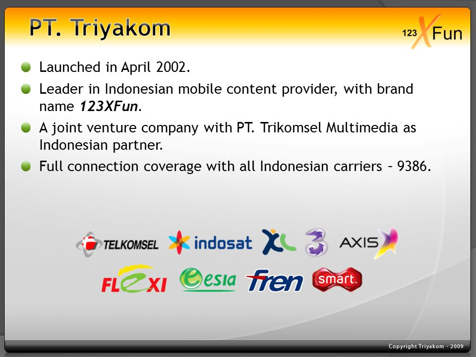 Launched in April 2002. Leader in Indonesian mobile content provider, with brand name 123XFun.