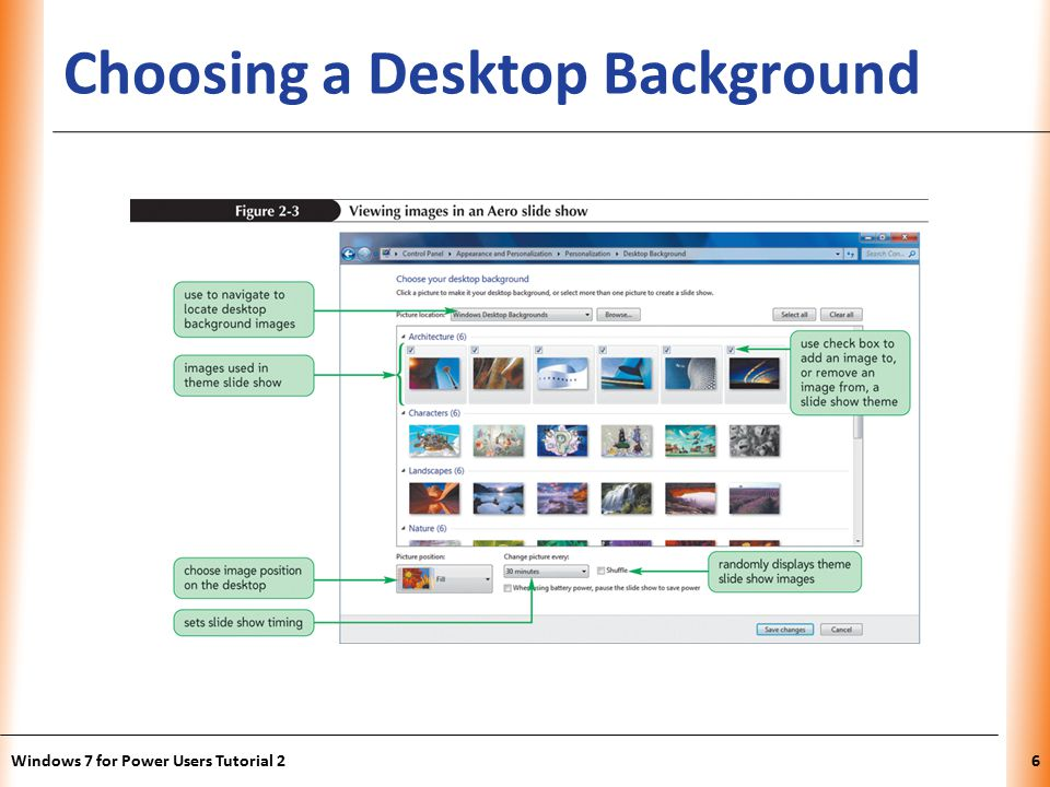 XP Choosing a Desktop Background Windows 7 for Power Users Tutorial 26